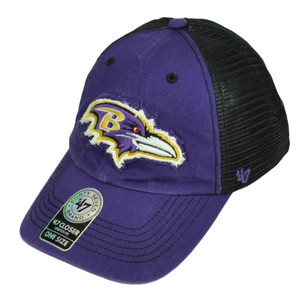 '47 Brand Baltimore Ravens Distressed Mesh Flex Fit One Size Hat Cap Purple Blk