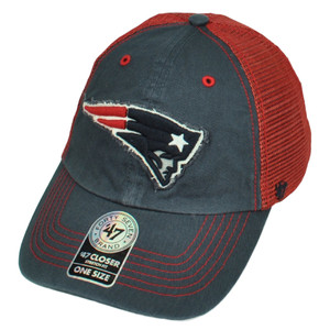 '47 Brand New England Patriots Distressed Mesh Flex Fit One Size Hat Cap Red Blue