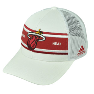 Miami Heat Adidas White Stripe Mesh Snapback NZM06 Hat Cap Basketball Curved Bill