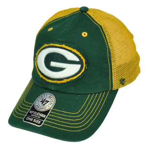 '47 Brand Green Bay Packers Distressed Mesh Flex Fit One Size Hat Cap Yellow