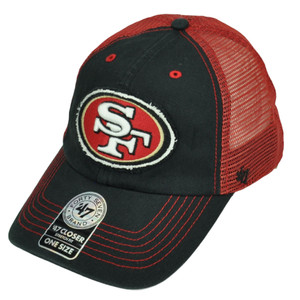 '47 Brand San Francisco 49ers Distressed Mesh Flex Fit One Size Hat Cap Black