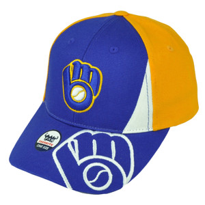 Milwaukee Brewers Mens Hat Cap Yellow Blue Adjustable Baseball Curved Bill
