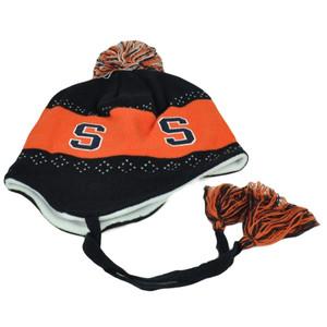 NCAA Syracuse Orange Pom  Pom Flap Jack Tassel Knit Beanie Ear Flap Peruvian