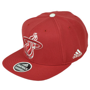 Miami Heat Adidas Red Snapback Flat Bill Hat Cap Basketball Constructed Big Logo