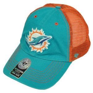'47 Brand Miami Dolphins Distressed Mesh Flex Fit One Size Hat Cap Turquoise