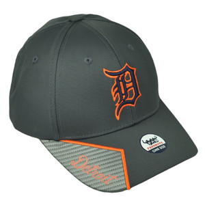 Detroit Tigers Gray Mens Hat Cap Baseball Adjustable Script Visor Curved Bill