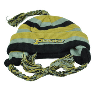 NCAA Purdue Boilermakers Knit Star Striped Ear Flap Tassel Toque Cuffed Beanie