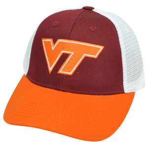 NCAA Mesh Twill Snapback Two Tone Curved Adjustable Hat Cap Virginia Tech Hokies