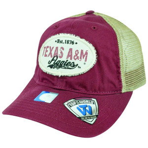 NCAA Texas A&M Aggies Snapback Top of the World Mesh Garment Washed Hat Cap