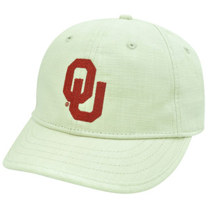 NCAA Oklahoma Sooners OU Slouch Relax Beige Curved Bill Adjustable Velcro Hat