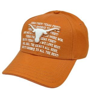 NCAA Texas Longhorns Adjustable Curved Bill Velcro Constructed Fight Song Chino