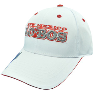 NCAA New Mexico Lobos Plain White Name Constructed Curved Bill Velcro Hat Cap