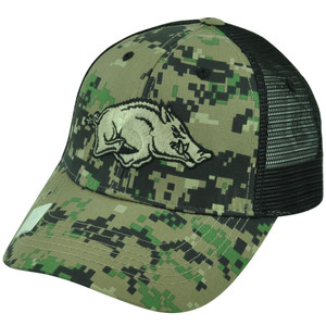NCAA Arkansas Razorbacks Digital Camouflage Camo Trucker Mesh Snapback Hat Cap