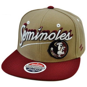 NCAA FSU Florida Seminoles Logo Flat Bill Snapback Zephyr Tan Maroon Red Hat Cap