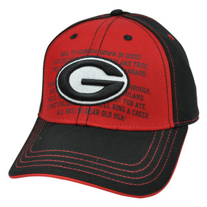 NCAA Georgia Bulldogs Hat Adjustable Constructed Curved Bill Fight Song Chino