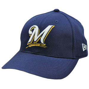 MLB Milwaukee Brewers Vintage Old School New Era Navy Blue Gold Snapback Hat Cap