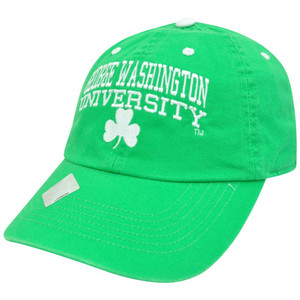 NCAA George Washington Colonials St Patricks Green Garment Wash Clover Hat Cap