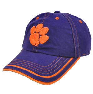 NCAA Hat Cap Clemson Tigers Platinum Garment Wash Adjustable Curved Bill Slouch