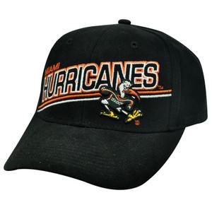 NCAA Gridiron Miami Hurricanes UM Black Ibis Logo Velcro Mens Adult Hat Cap