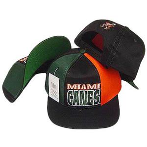 NCAA Miami Hurricanes Drew Pearson Vintage Deadstock Blk Green Snapback Hat Cap