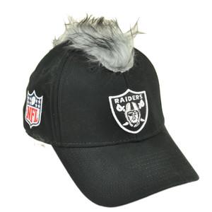 NFL Oakland Raiders Spike Mohawk Flair Grey Hair Stretch Flex Fit S/M Hat Cap
