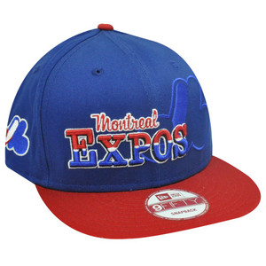 MLB HAT CAP NEW ERA NINE 9 FIFTY FLAT BILL SNAPBACK MONTREAL EXPOS BLUE RED