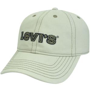 Levis Famous Denim Jeans Faux Leather Strap Garment Wash Buckle Beige Hat Cap