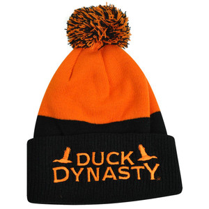 A&E TV Series Duck Dynasty Robertson Family Knit Pom Pom Cuffed Beanie Orange