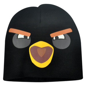 Angry Birds Cuffless Knit Face Beanie Fire Bomb Black Game Youth Junior Hat Boom