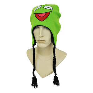 Disney The Muppets Kermit Frog Puppets Reversible Peruvian Beanie Knit Tassels