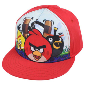 Angry Birds Crew Sublimation Print Video Game Cartoon Flat Bill Snapback Hat Cap