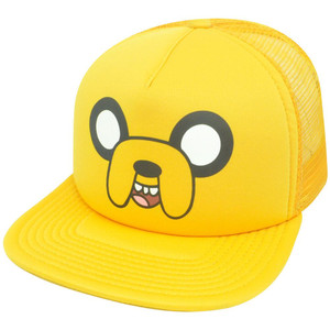 Adventure Time Jake Big Face Trucker Yellow Snapback Mesh Flat Bill  Hat Cap