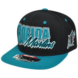 MLB American Needle Florida Marlins Fusion Angler Snapback Flat Bill Hat Cap