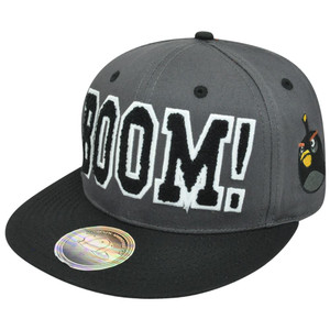 Angry Birds Game Fire Bomb Black Face Chenille Boom Flat Bill Snapback Hat Cap