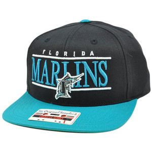 MLB American Needle Nineties Twill Cap Hat Snapback Flat Bill Florida Marlins