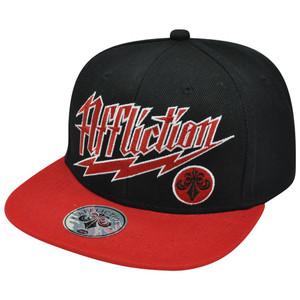 Affliction Lightning Logo Flat Bill Snapback American Customs Black Red Hat Cap