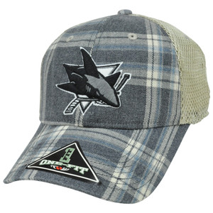 NHL LNH San Jose Sharks Plaid Mesh One Size Flex Fit Hat Cap Top of The World