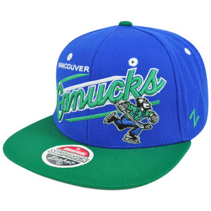 NHL LNH Vancouver Canucks Blue Up Shot TC Flat Bill Zephyr Snapback Hat Cap