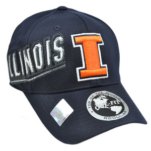 NCAA Illinois Fighting Illini Hat Cap Flex Fit Stretch One Fit Top of World Navy