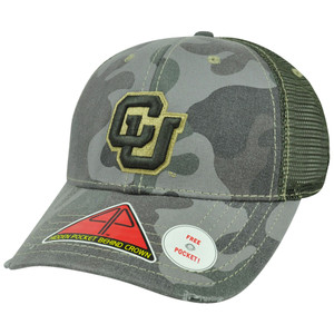 NCAA Colorado Buffaloes Deliverance Pro Pocket Camo Stretch Flex Fit Hat Cap M/L