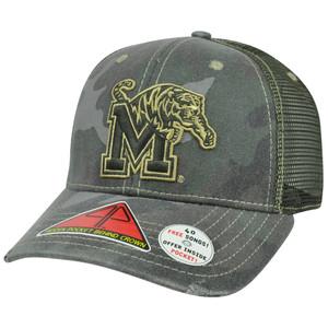 NCAA Memphis Tigers Deliverance Pro Pocket Distressed Camo Flex Fit Hat Cap M/L