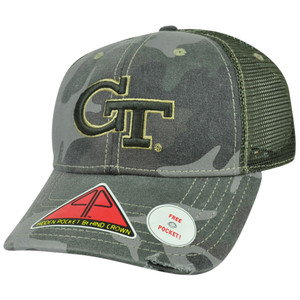 NCAA Georgia Tech Yellow Jackets Deliverance Pro Pocket Camo Flex Fit Hat Cap LG