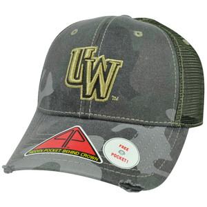 NCAA Wyoming Cowboys Deliverance Pro Pocket Camo Distress Flex Fit Hat Cap M/L