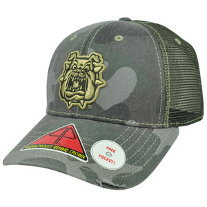 NCAA Fresno Bulldogs Deliverance Pro Pocket Distressed Camo Flex Fit Hat Cap M/L