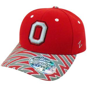 NCAA Ohio State OSU Zephyr Flex Fit Small Zig Zag Stretch Buckeyes Hat Cap Red