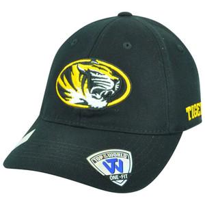 NCAA Missouri Tigers Mizzou Flex Fit Top of the World Curved Bill Hat Cap Black