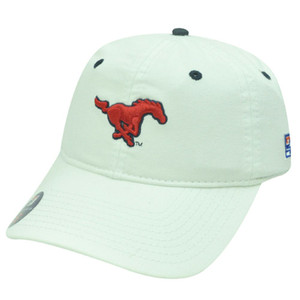 NCAA SOUTHERN METHODIST MUSTANG FITTED CAP HAT WHITE SM