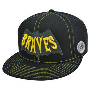 ATLANTA BRAVES FLAT BILL FIT HAT BLACK BATMAN SIZE 7