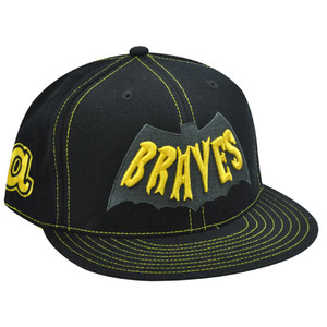 ATLANTA BRAVES FLAT BILL FIT HAT BLACK BATMAN 7 1/2 NEW