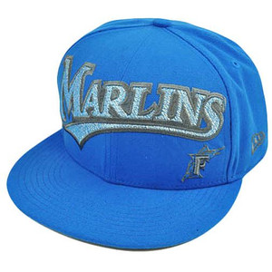 MLB Florida Marlins New Era 59Fifty 5950 Fitted Hat Cap Blue On Field 7 1/2